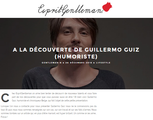Photo d'article de Guillermo Guiz sur Esprit Gentleman