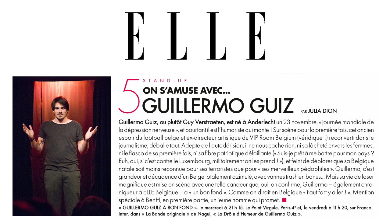Photo d'article de Guillermo Guiz sur Elle Magazine