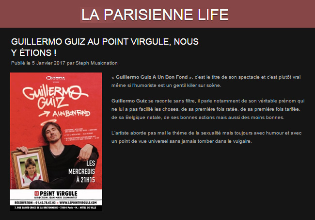 Photo d'article de Guillermo Guiz sur La Parisienne Life