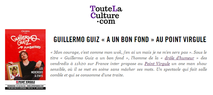 Photo d'article de Guillermo Guiz sur Toute la Culture