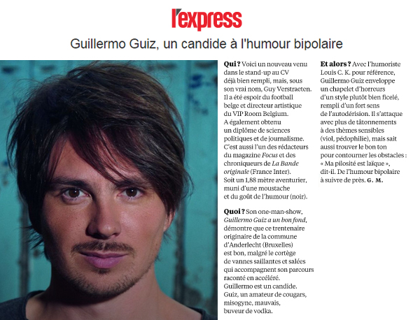 Photo d'article de Guillermo Guiz sur l'Express