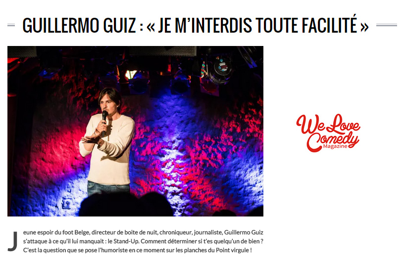 Photo d'article de Guillermo Guiz sur We Love Comedy Magazine